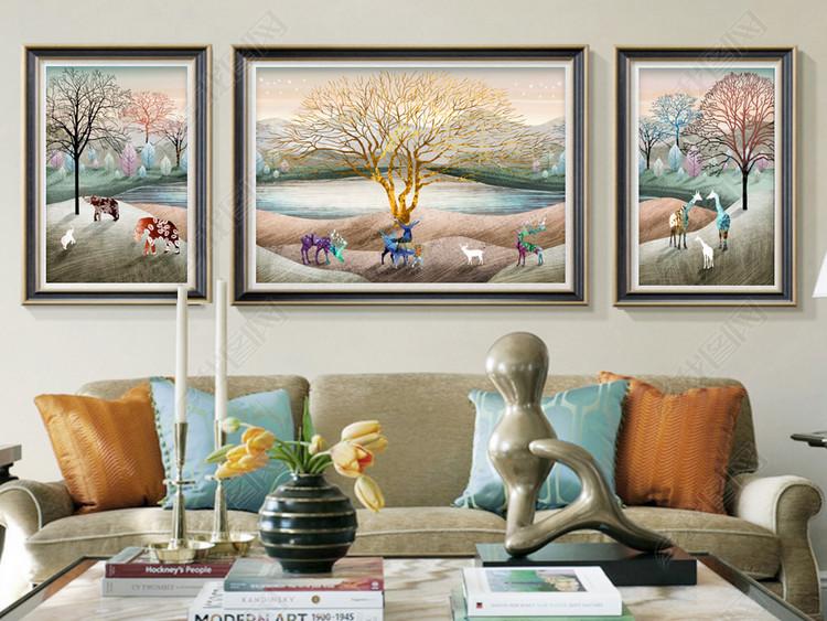 欧式复古手绘风景山水动物发财树客厅装饰画