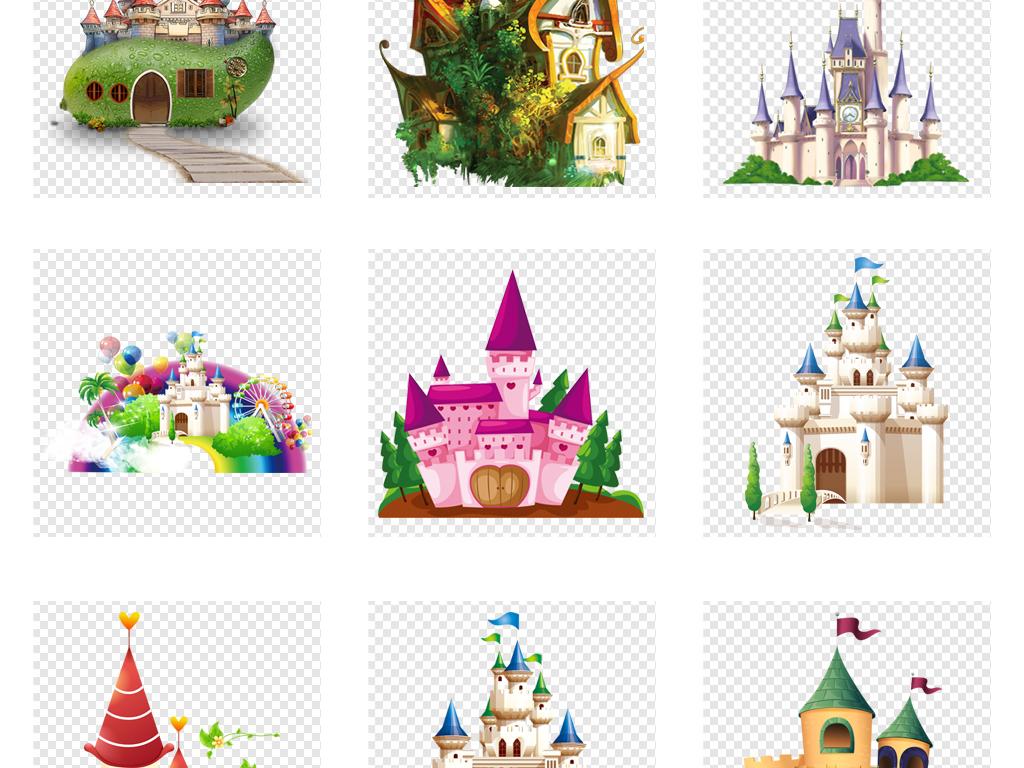 卡通城堡素材png卡通儿童小朋友幼儿园