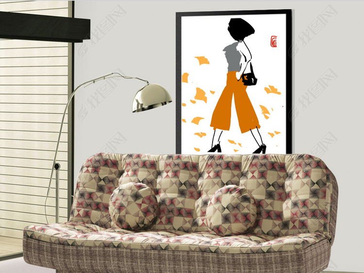 清新人物室内装饰画都市丽人系列之四十.psd