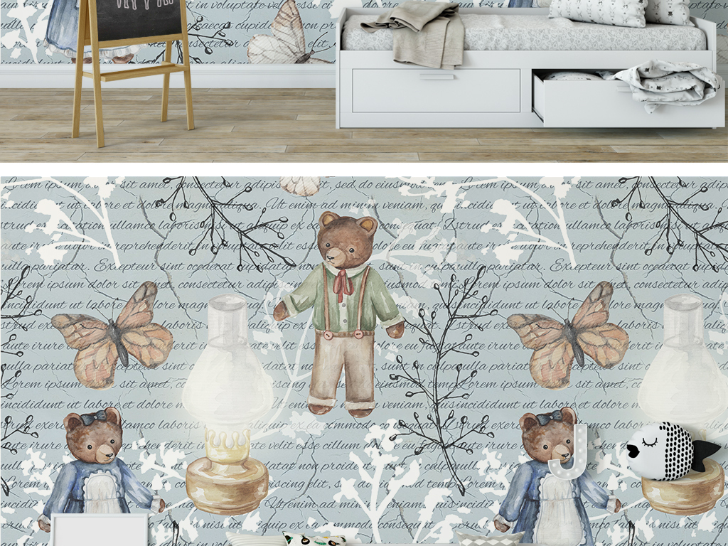 美式复古田园风格手绘可爱小熊儿童房背景墙