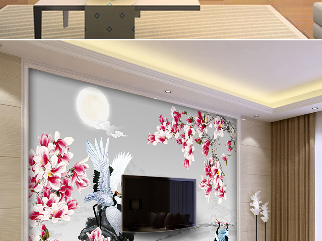 中国时尚风格手绘玉兰花水墨中式背景墙