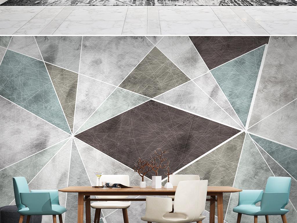 北欧几何现代简约电视背景墙壁画图片设计素材_高清(.图片
