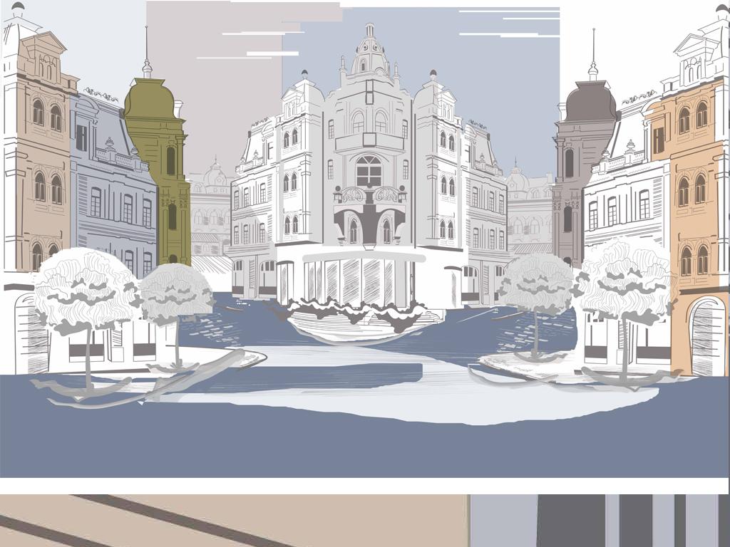 现代简约手绘城市建筑背景墙装饰画