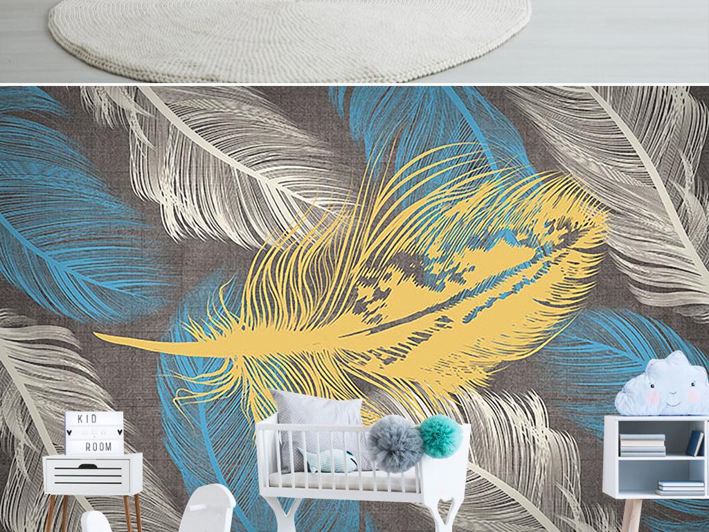 北欧手绘彩色羽毛背景墙