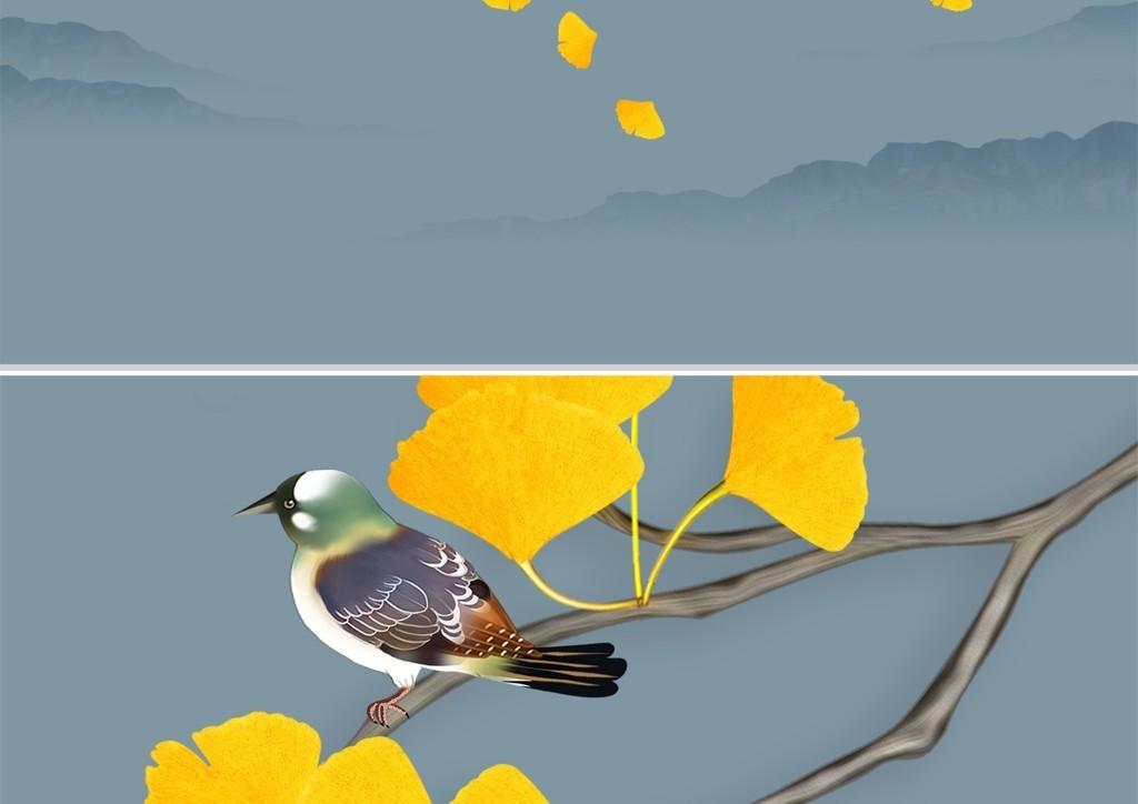 背景墙 电视背景墙 手绘电视背景墙 > 新中式水墨山水手绘银杏叶花鸟