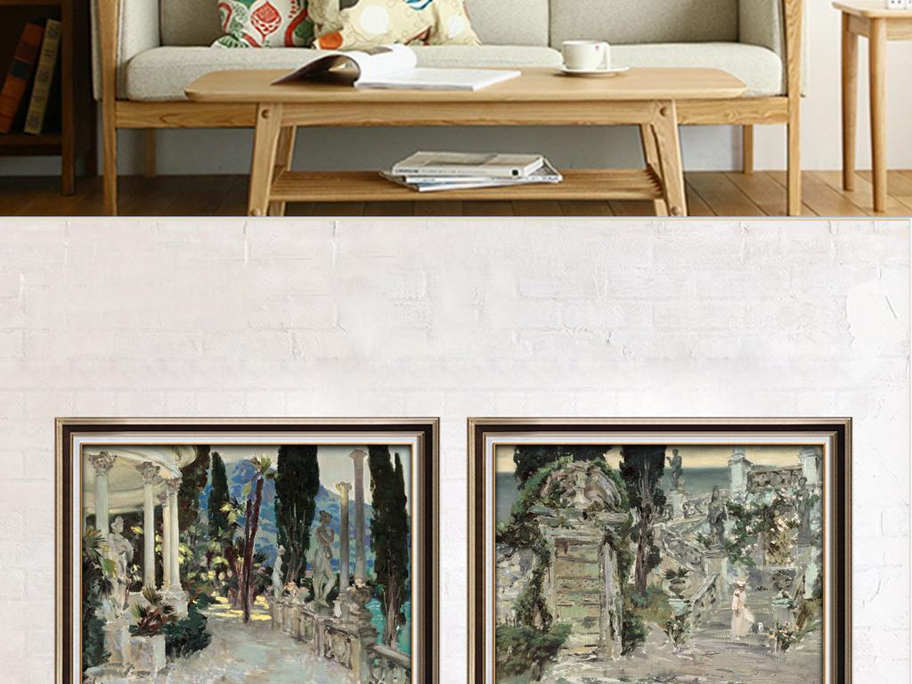 欧式手绘抽象江南小镇风景油画