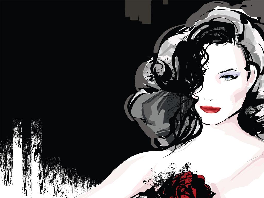 现代简约插画手绘美女花卉线条装饰画