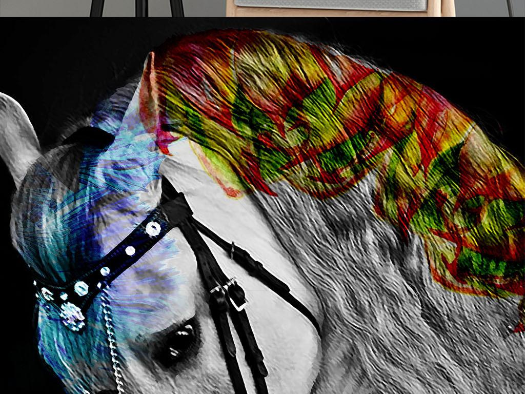 北欧马简约油画彩色白马高档艺术装饰画图片设计素材图片