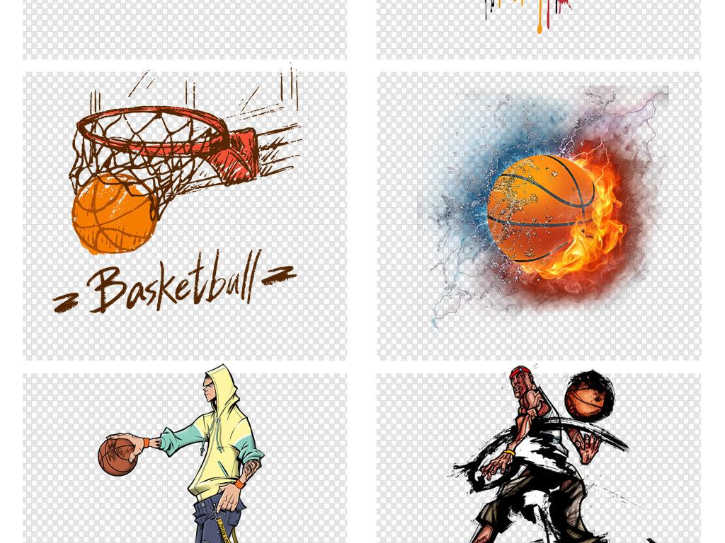 水彩手绘打篮球比赛剪影png素材