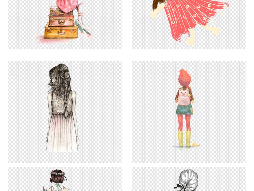 免扣元素 人物形象 美女 > 彩绘人物卡通手绘女孩背影文艺海报png