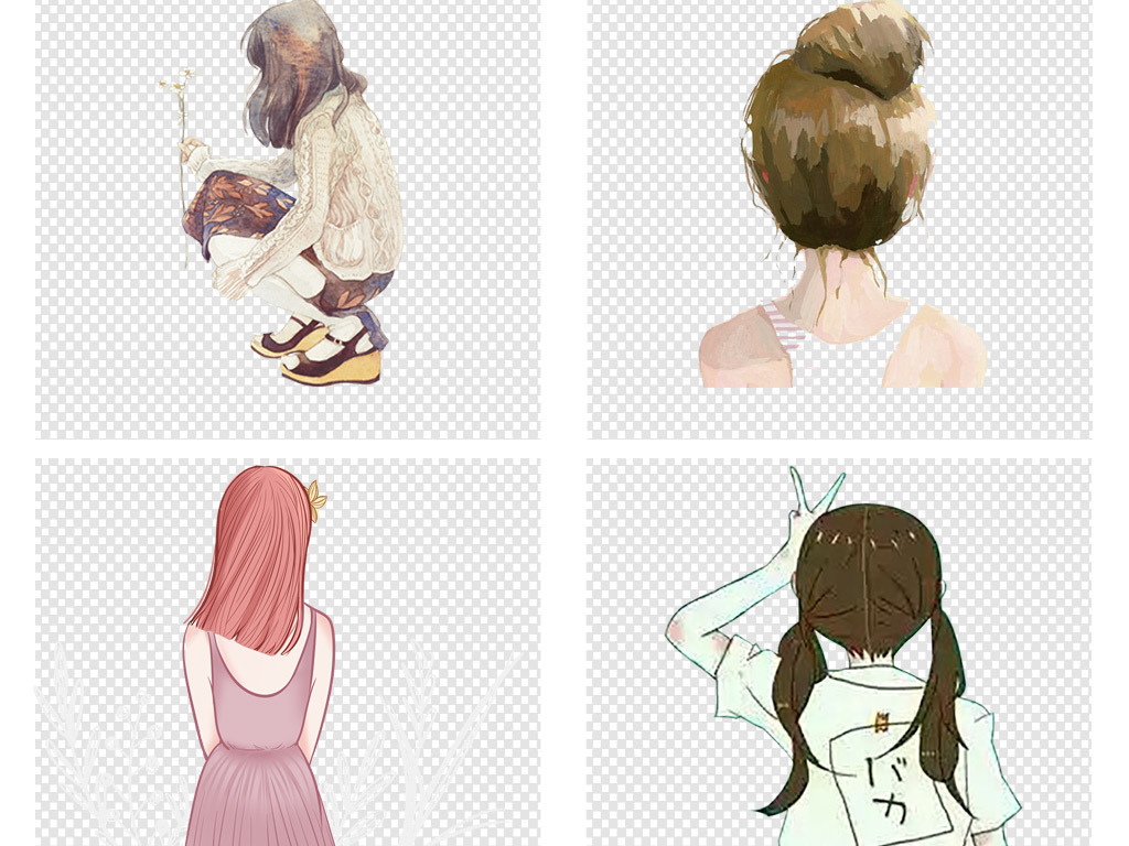 彩绘人物卡通手绘女孩背影文艺海报png