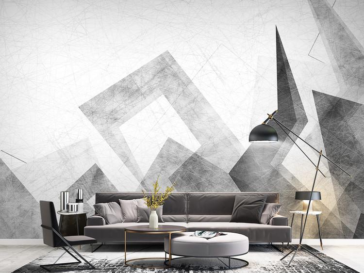 北欧现代简约愁绪城市几何电视背景墙