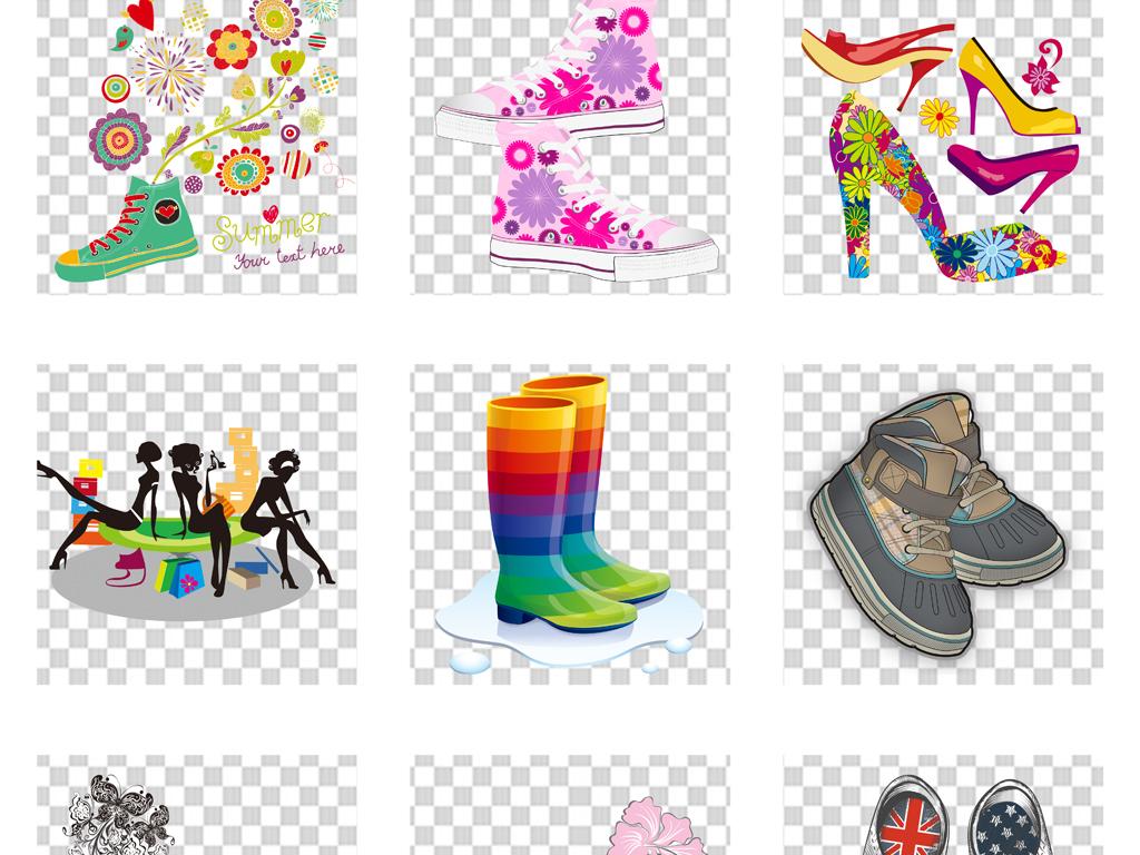 卡通手绘水彩创意高跟鞋女鞋设计png素材