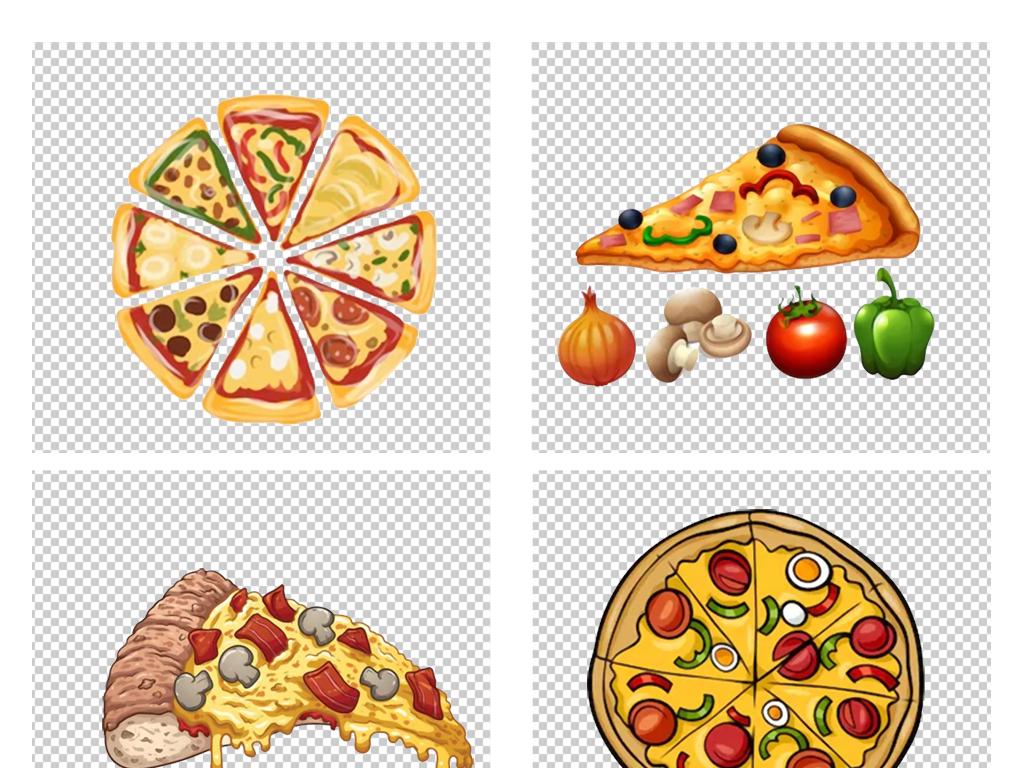 卡通手绘意大利美食比萨匹萨披萨饼png