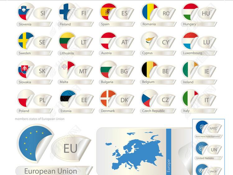 欧洲国家国旗立体国旗欧盟欧元法国德国英国