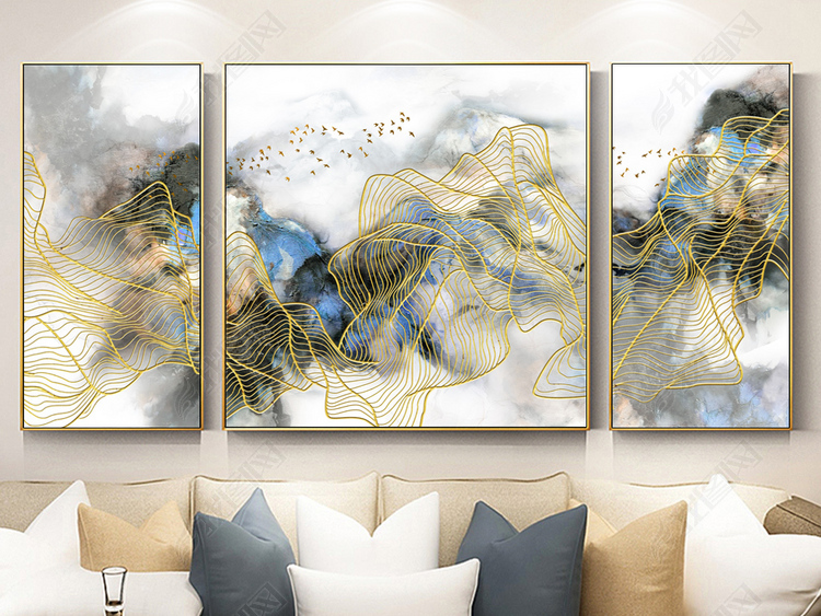 飞鸟新中式抽象水墨山水油画线条三联装饰画