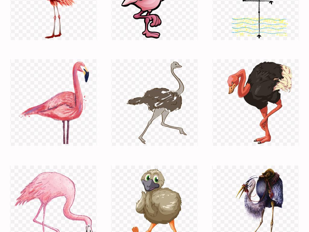 50款可爱手绘卡通鸵鸟动物园海报png素材