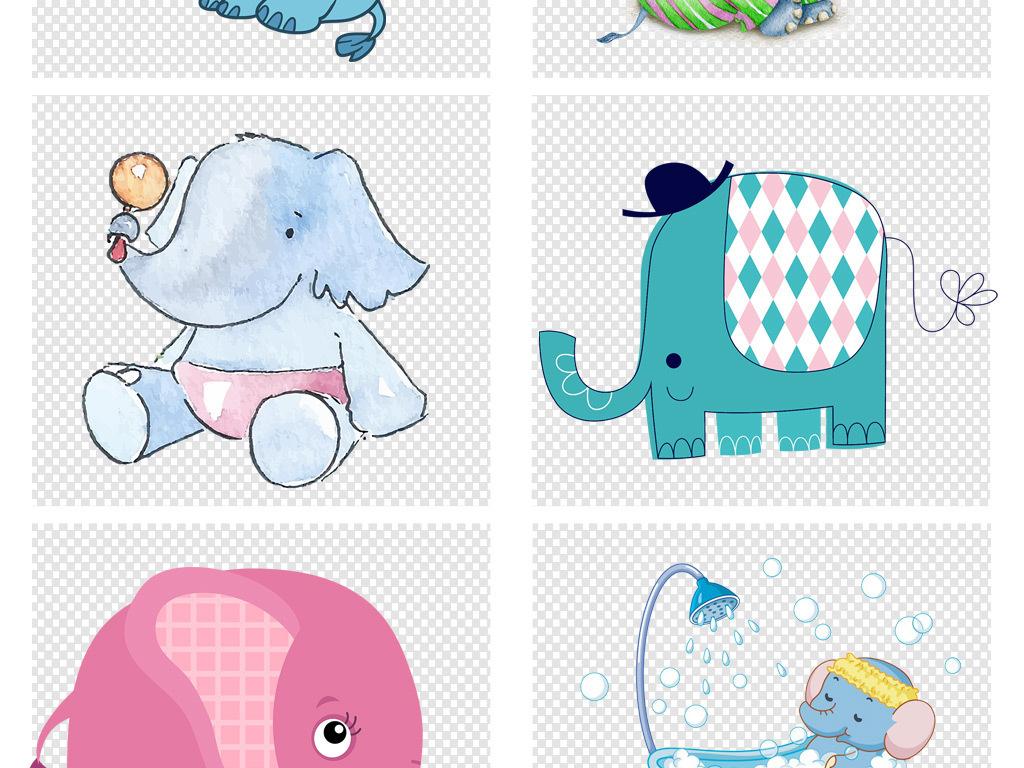 卡通少儿手绘大象png素材