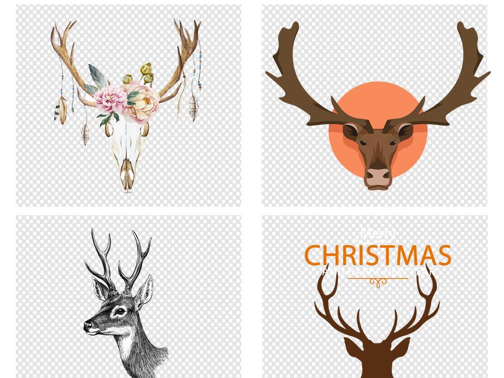 唯美水彩手绘森林系鹿头png素材