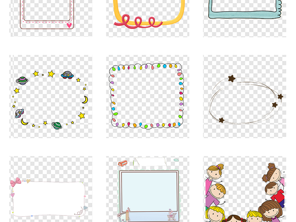 可爱卡通手绘云朵气泡边框png透明素材