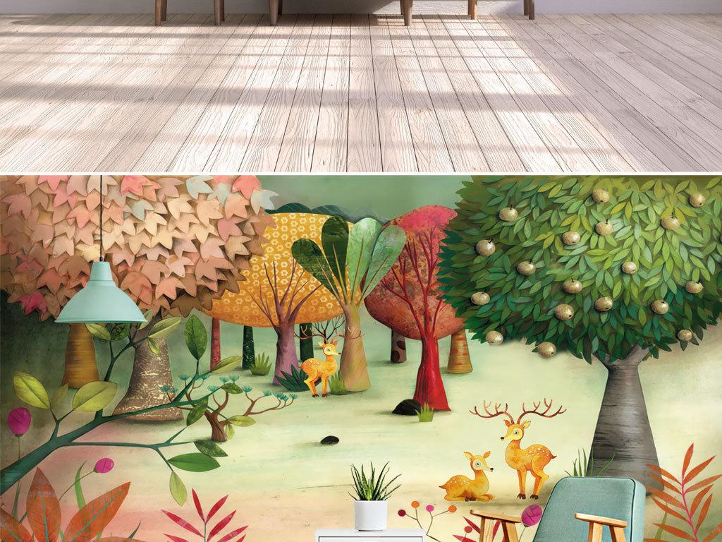 现代手绘童话森林麋鹿小鹿果园儿童房背景墙