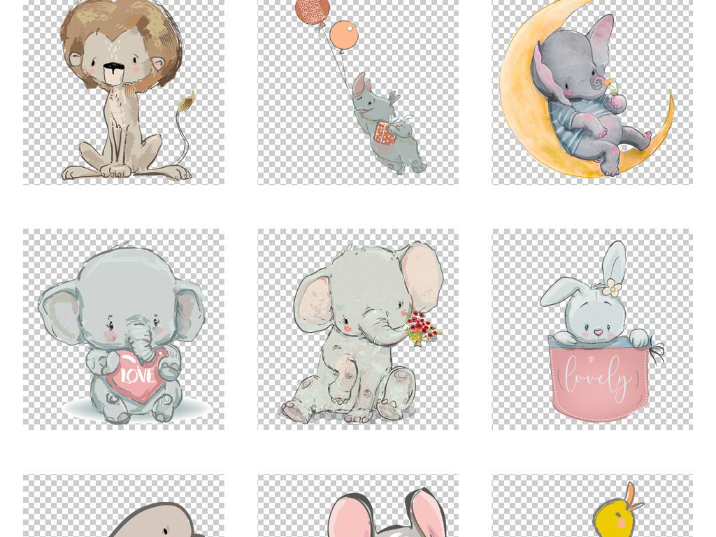 卡通可爱手绘小象狮子矢量png素材