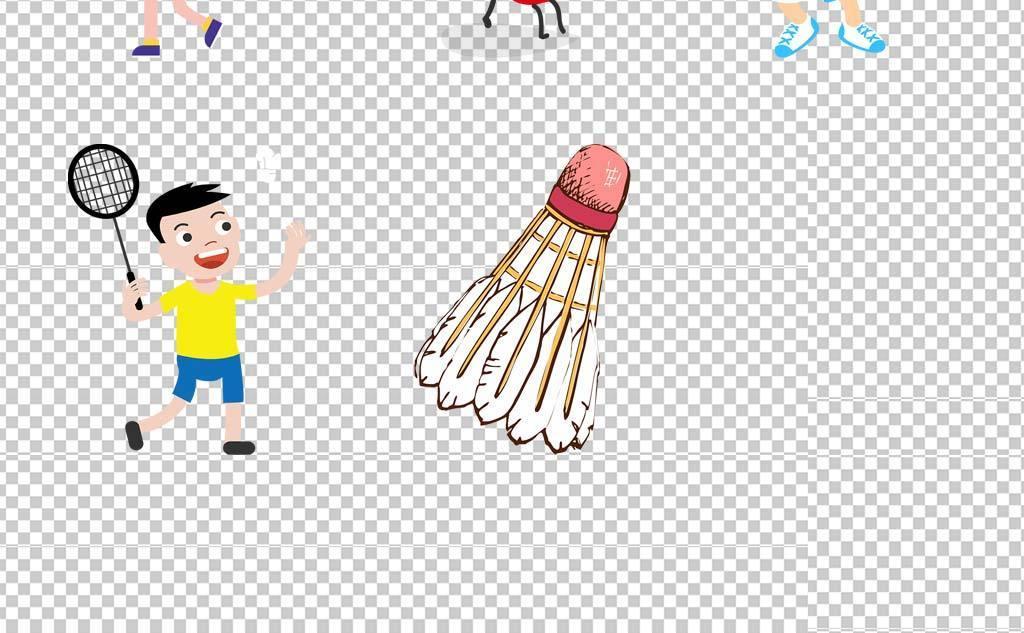 手绘可爱卡通儿童运动羽毛球人物设计免扣素材