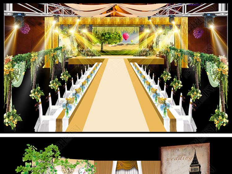 高端创意时光时间主题婚礼现场舞台效果图