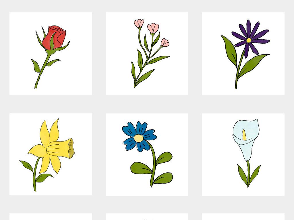 手绘小清新花卉唯美小花小草植物ai素材