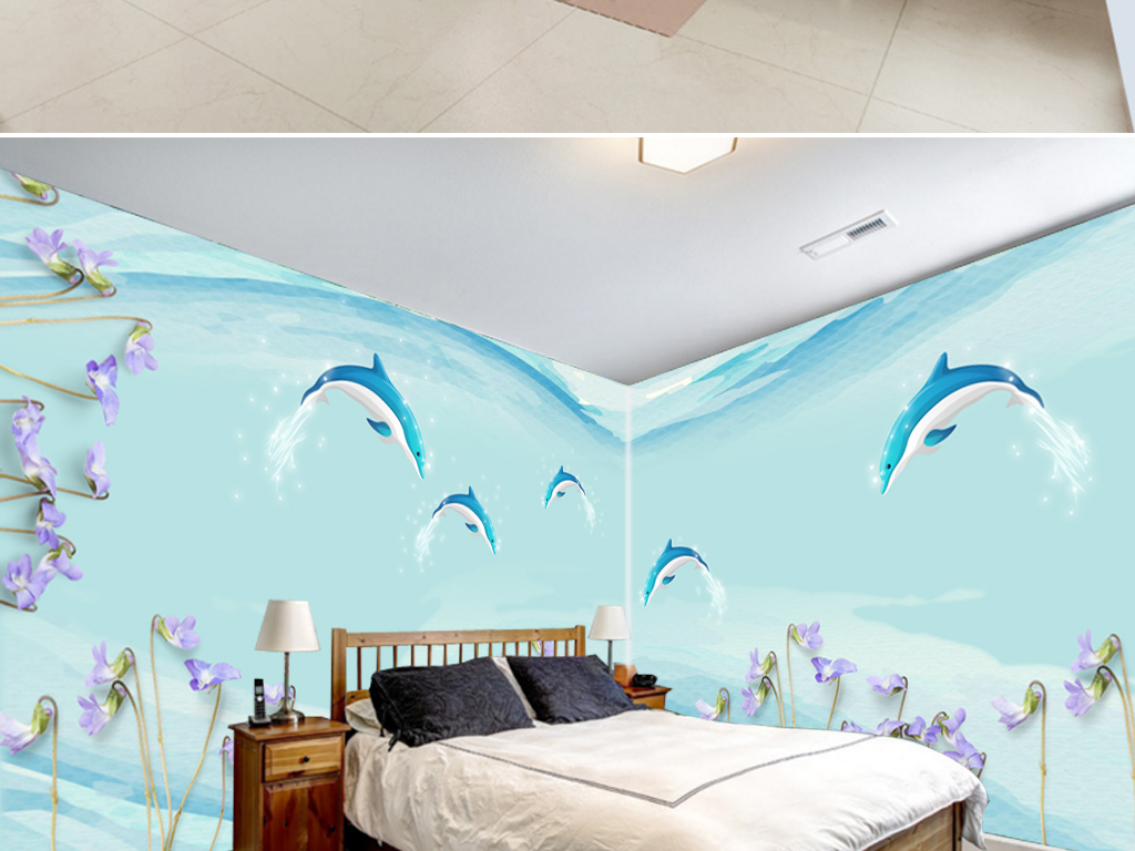 3d手绘海豚背景墙壁画图片设计素材_高清psd模板下载