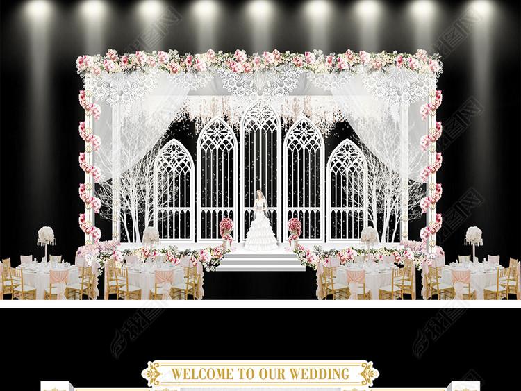 经典韩式流行小清新主题婚礼舞台设计效果图