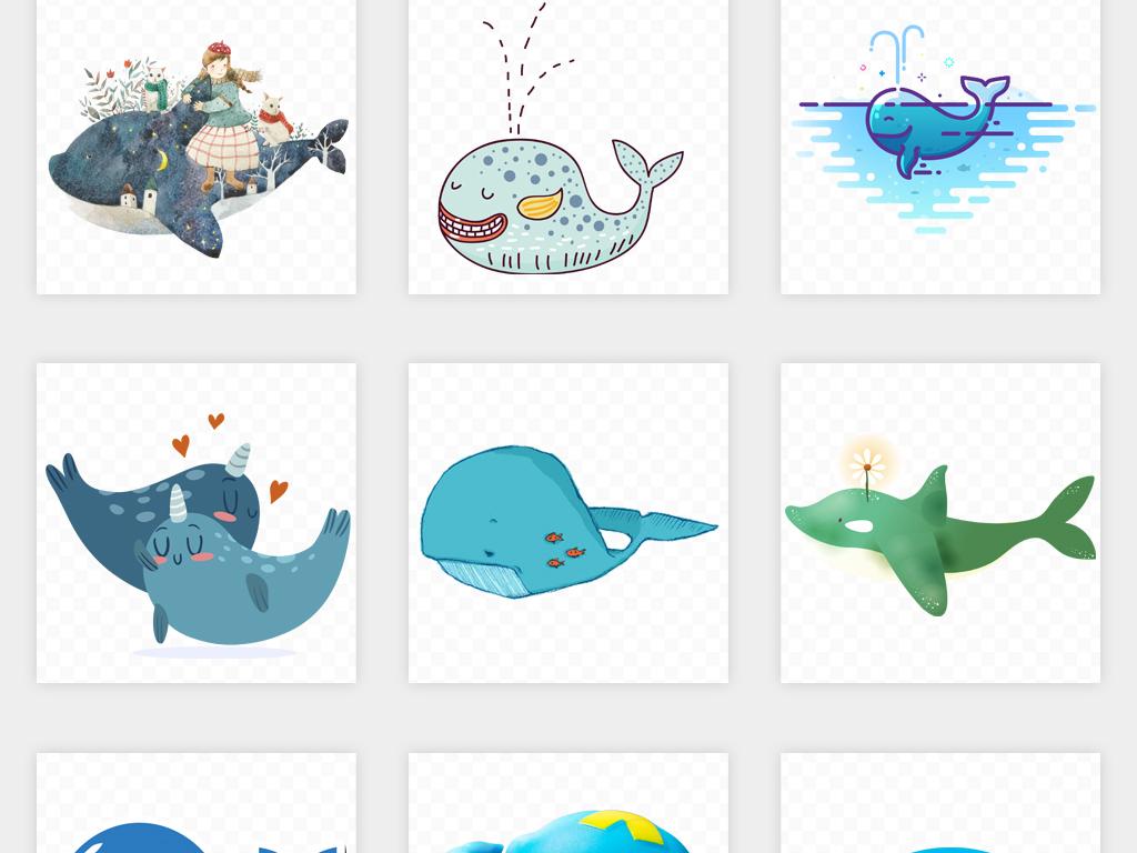 卡通手绘可爱鲸鱼动物海洋馆背景海报设计png免扣素材