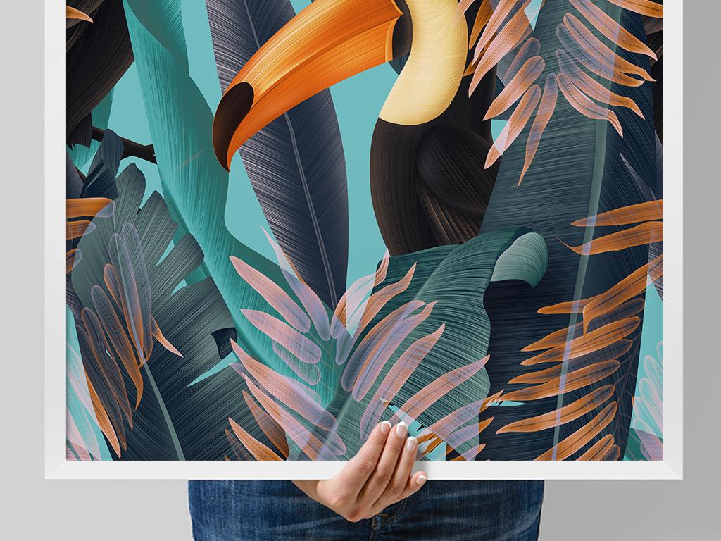 大嘴鸟手绘装饰画