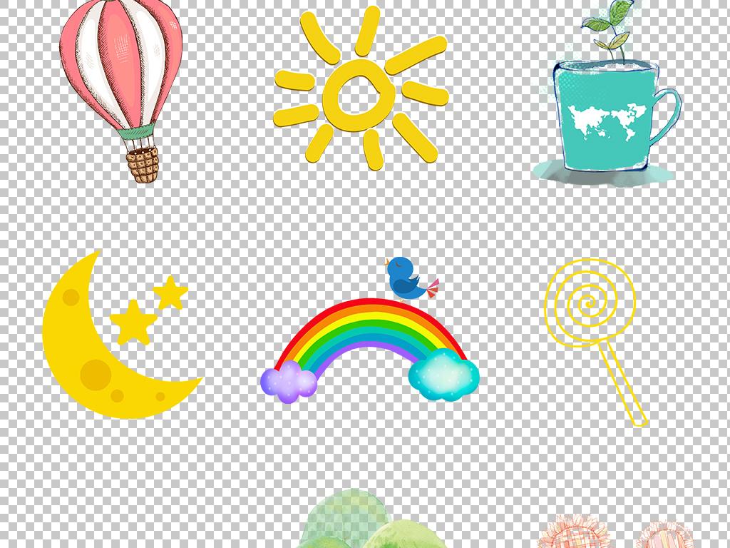 卡通小清新太阳星星云彩虹png透明素材