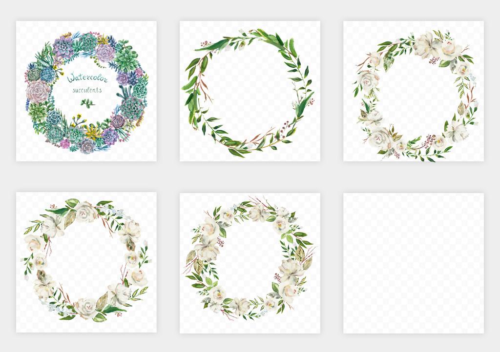 水彩花卉手绘小清新圆形花环边框海报png免扣素材