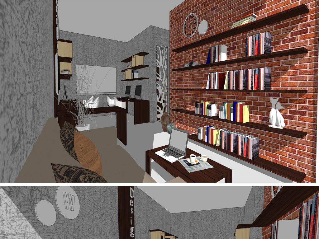 办公室,工作室室内su模型设计图下载(图片20.99mb)_库