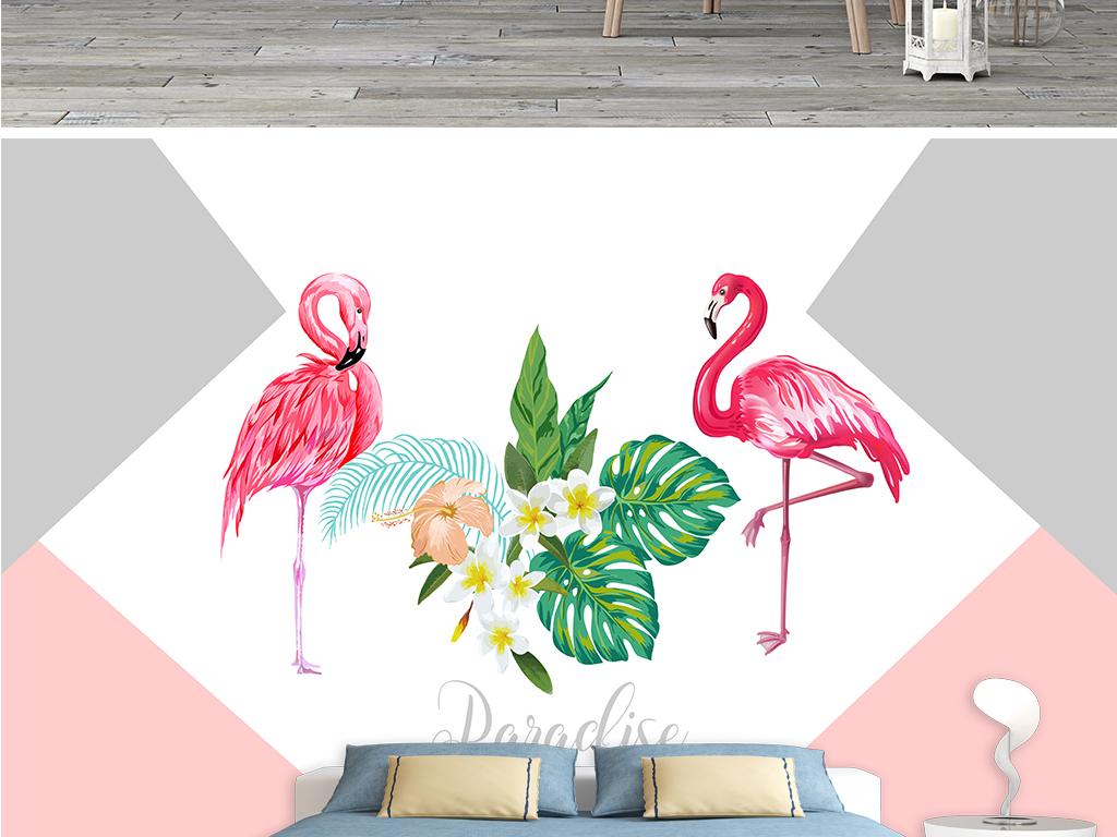 北欧背景墙手绘火烈鸟