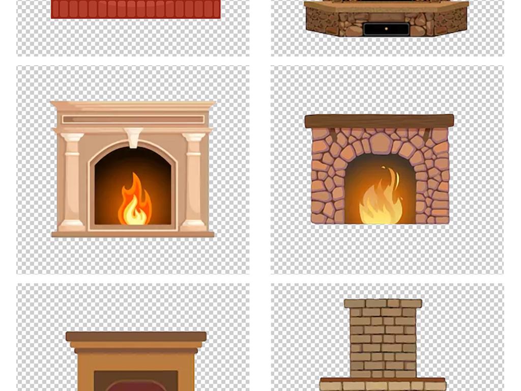 卡通手绘圣诞节圣诞季火炉壁炉png素材