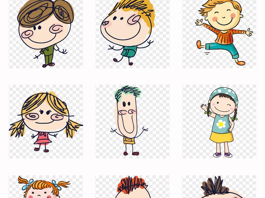 手绘可爱卡通六一儿童节小学生儿童幼儿玩耍png素材