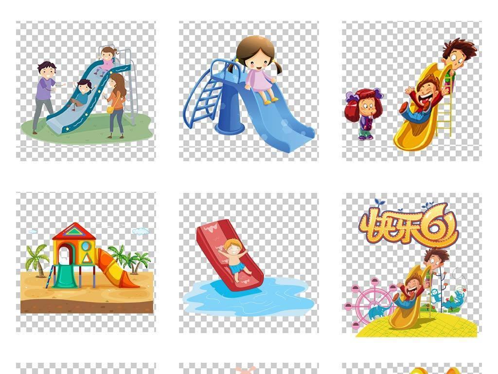 手绘卡通游乐园彩色滑滑梯儿童小孩png素材