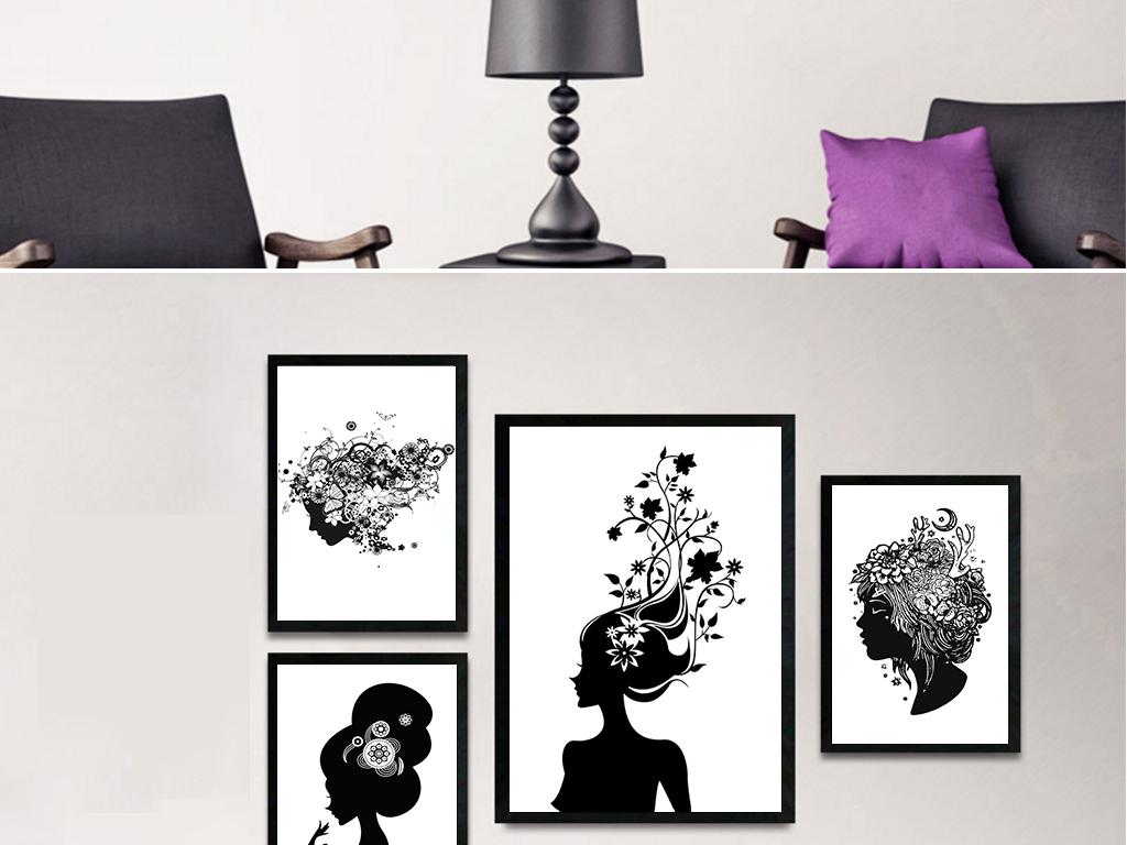 现代时尚无框美女人物剪影黑白装饰画墙画