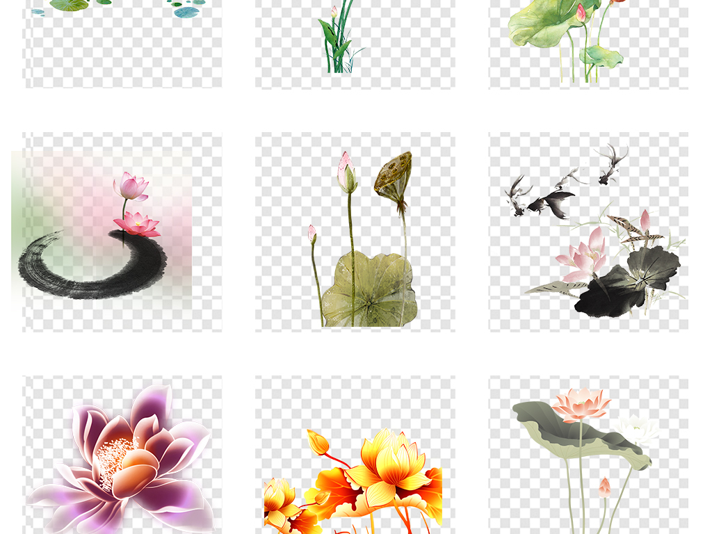 手绘水墨荷花荷叶莲花png透明背景素材图片_模板下载