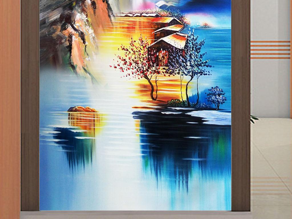 高清手绘立体高山流水瀑布泰山油画玄关