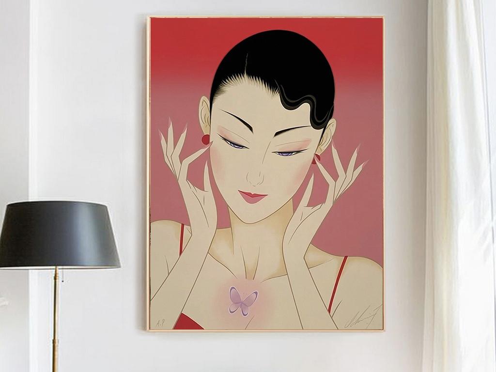 现代创意个性手绘日本美女女人时尚装饰画