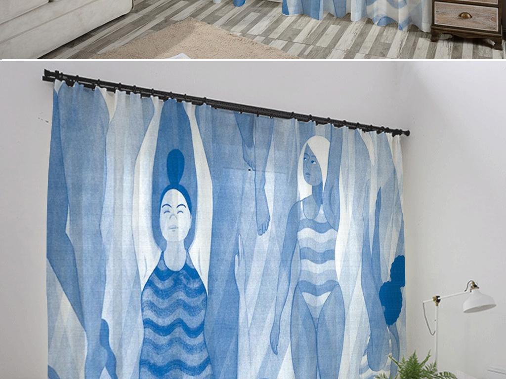 手绘水彩美女人物游泳蓝色简约风格浴帘窗帘