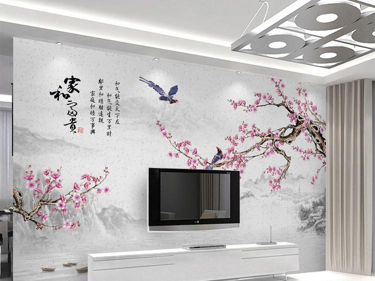新中式水墨山水梅花山水电视背景家和富贵