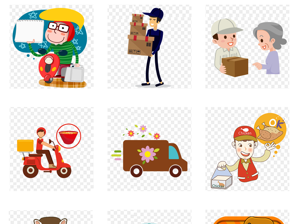 卡通快递员物流车外卖送餐人物png素材图片