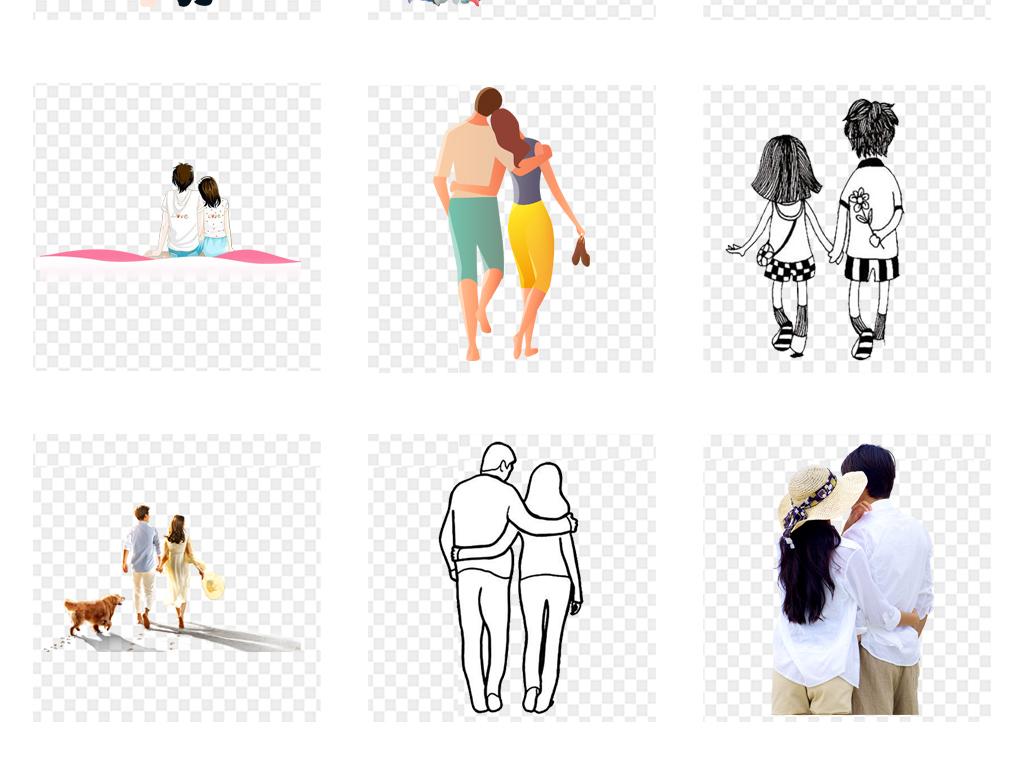 卡通手绘情人节唯美情侣背影剪影png素材图片_模板(28