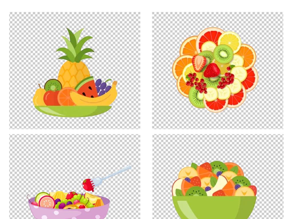 卡通手绘水果冰淇淋水果沙拉pn