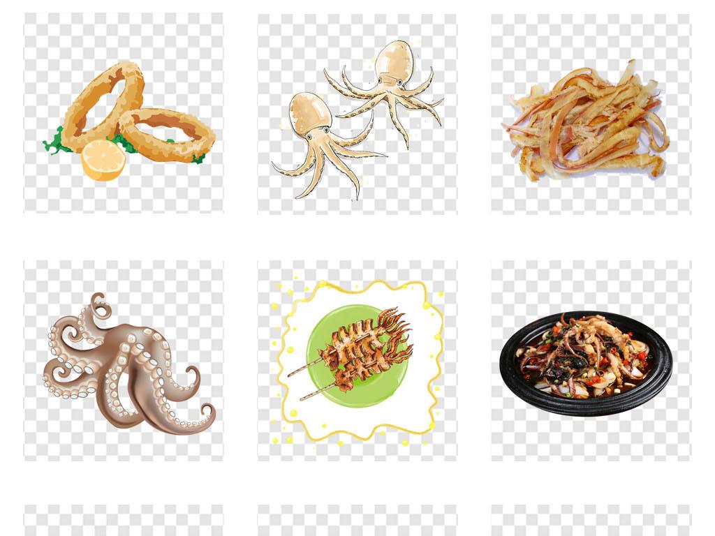 美食手绘鱿鱼丝烧烤中餐促销海报背景png